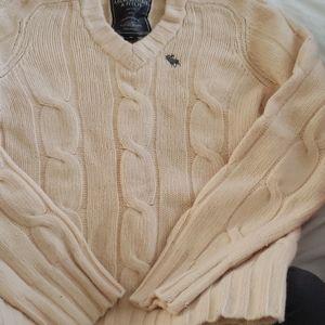 Abercrombie & Fitch Cream Cashmere Blend Sweater